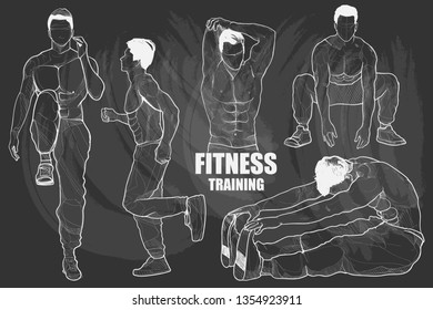 Fitness training set. chalk drawing style.
