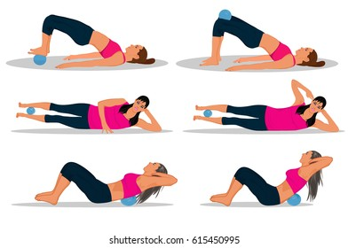 fitness with trigger point yoga massage ball, vector illustration