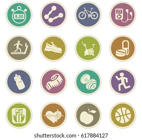 fitness vector icons for user interface design
