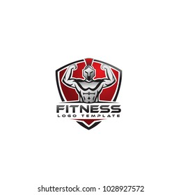 fitness vector logo design template,design for gym and fitness vector, with spartan warrior figure.