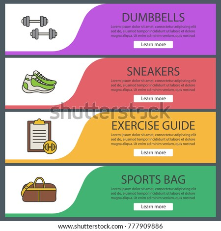 fitness web banner templates set sport stock vector royalty free