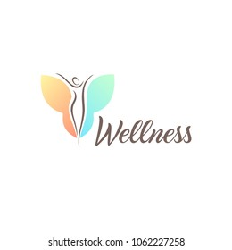 Fitness and wellness vector logo design template. Young woman with wings.