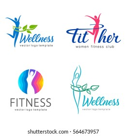 Fitness and wellness vector logo design  set