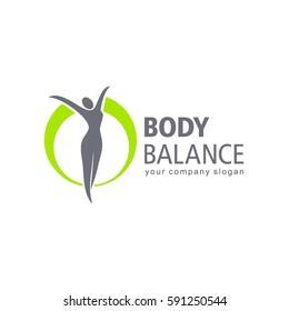 Fitness and wellness vector logo design. Body balance