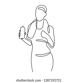 Fitness woman with bottle of water continuous line vector illustration