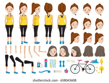 fitness woman character creation set.Icons with different types faces and hair style, emotions,front,rear,side view of female person.Moving arms,legs.Vector illustration Isolated on white background