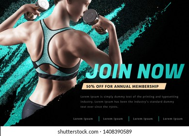 Fitness woman with dumbbell in sportswear, gym ads in 3d illustration