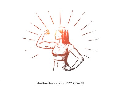 Fitness woman, healt, body building, sport concept. Hand drawn sportive woman doing exercises concept sketch. Isolated vector illustration.
