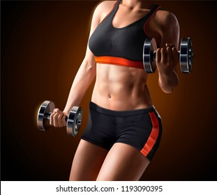 Fitness woman lifting weights in 3d illustration