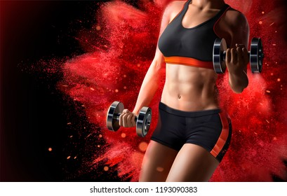 Fitness woman lifting weights on red exploding powder effect background in 3d illustration