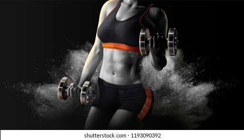 Fitness woman lifting weights on exploding powder effect background in 3d illustration, grey scale