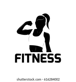 Fitness woman silhouette with modern line elements. Fitness logo or poster design. Vector illustration isolated on a white background. Fitness woman for gym or club concept. Black and white.