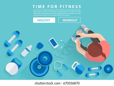 Fitness woman workout in gym with equipment background, Vector illustration layout template design