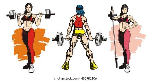 Fitness women, bodybuilders, vector illustration