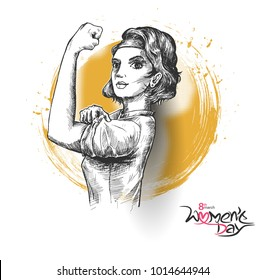 Fitness Women show his power - Happy Women's Day design. Hand Drawn Sketch Vector illustration.