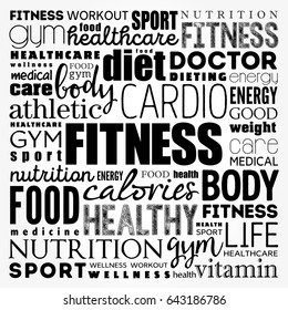 FITNESS word cloud, sport, health concept background