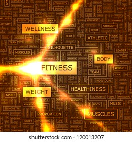 FITNESS. Word collage. Vector illustration.