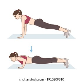 Fitness and Workout. A woman is doing sports exercises. Push-ups. Workout for arms and pectoral muscles. Fitness for weight loss.