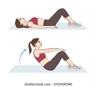 Fitness and Workout. A woman is doing sports exercises. Sit-ups. Workout for the abs. Fitness for weight loss.