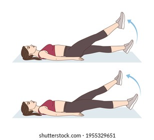 Fitness and Workout. A woman is doing sports exercises. Flutter kicks. Workout for the abs. Fitness for weight loss.