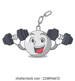 Fitness wrecking shattering ball on wall cartoon