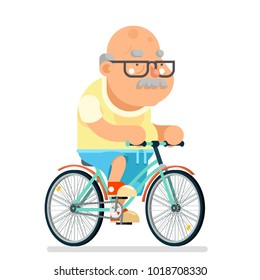 Fitness ycling Grandfather Adult Healthy Activitie Ride Bicycle Old Age Man Cartoon Character Flat Design Vector illustration