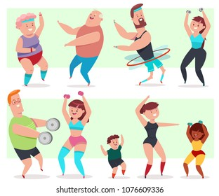 Fitness young and elderly men, women and children doing exercise. People workout vector cartoon character isolated on a white background. Healthy lifestyle set for family.