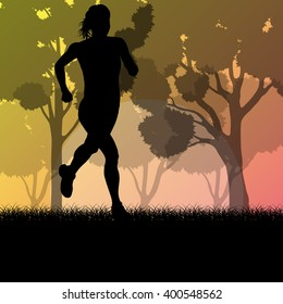 Fitness young woman runner running in forest landscape vector illustration background