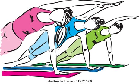 fitness zen women concept illustration