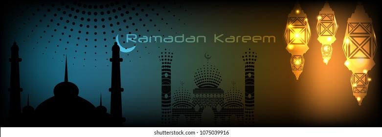 Idu'l Fitr for Muslim Community Festival Ramadan Kareem Lantern with Dark Background Banner Vector Illustration EPS 10.