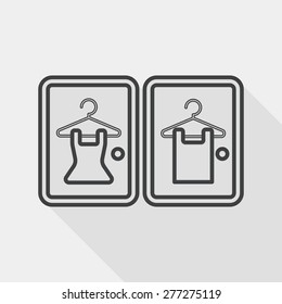 Fitting room flat icon with long shadow, line icon