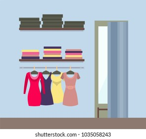 e7e70200e Fitting room and women s clothing store shop window with clothes and racks  with packed boxes