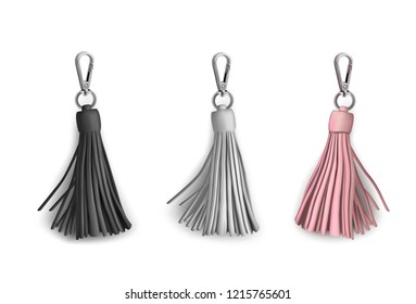Fittings for women's handbag. Decorative pendant tassel. Black, white, beige.