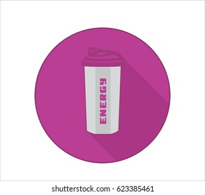 Fittness lifestyle icon with sport bottle symbol and energy text. Pink background