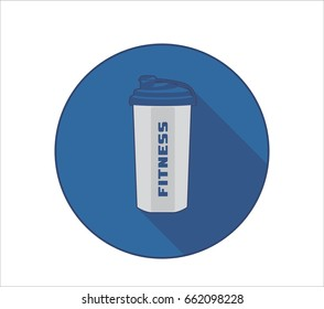 Fittness lifestyle icon with sport bottle symbol and fitness text. Blue background