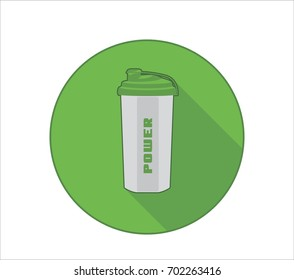 Fittness lifestyle icon with sport bottle symbol and power text. Green background
