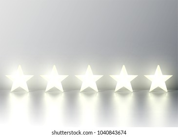 Five 3D yellow glowing star rating on grey background, vector illustration