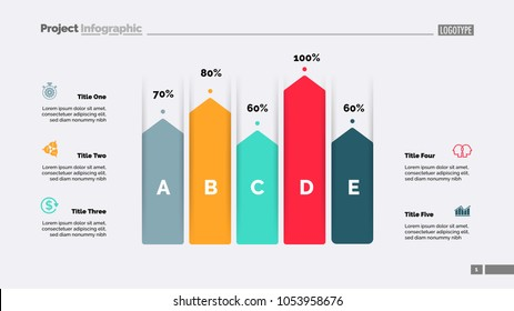 Five arrows bar diagram. Percentage chart, slide, editable template. Creative concept for infographics, presentation, project, report. Can be used for topics like business, finance, human resource