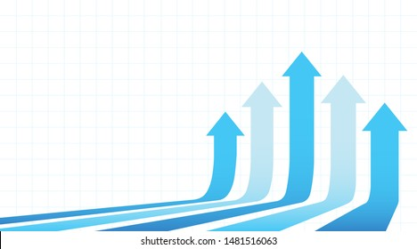 Five arrows moving up. Abstract financial chart with uptrend line arrows graph go up. White background.