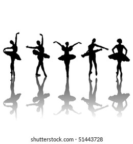 Five ballet dancers silhouettes in different positions, vector illustration