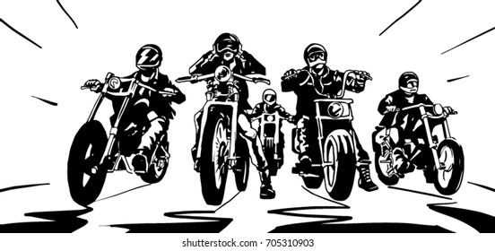 Five bikers on a road black and white vector drawing