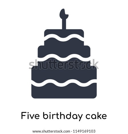 Five Birthday Cake Icon Vector Isolated Stock Vector Royalty Free