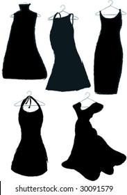 five black dresses