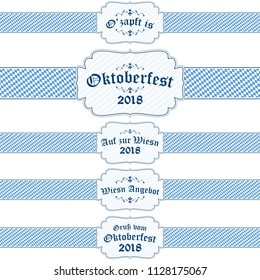 five blue and white Oktoberfest 2018 banners with different text