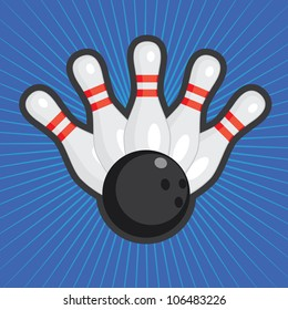 Five bowling skittles and ball on the colored abstract background.