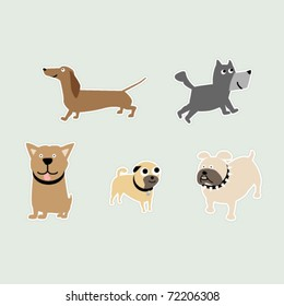 Five breeds of dogs as stickers; Dachshund, Pit-bull, Bulldog, Pug, and a Terrier.