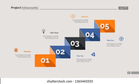 Five business components slide template. Business data. Graph, diagram. Creative concept for infographic, templates, presentation, report. Can be used for topics like analysis, research, economics