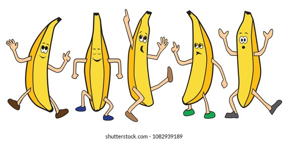 Five cartoon bananas are dancing
