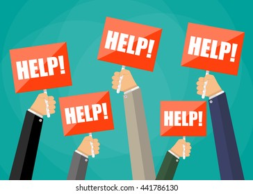 Five cartoon businessmens hands holding red sign boards with the word help. Vector illustration in flat design on green background