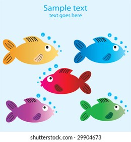 Five cartoon fish with space to include text for a card